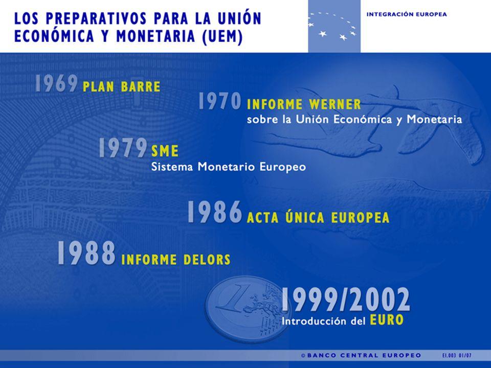 Los preparativos para la Unión Económica y Monetaria 1969 - Plan Barre Primer pronunciamiento a favor de la creación de una unión económica y monetaria que pretendía ahondar en la idea de una moneda única, debido a que el sistema de Bretton Woods mostraba signos cada vez más claros de rigidez.