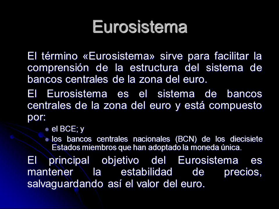 Eurosistema El término «Eurosistema» sirve para facilitar la comprensión de la estructura del sistema de bancos centrales de la zona del euro. El Euro