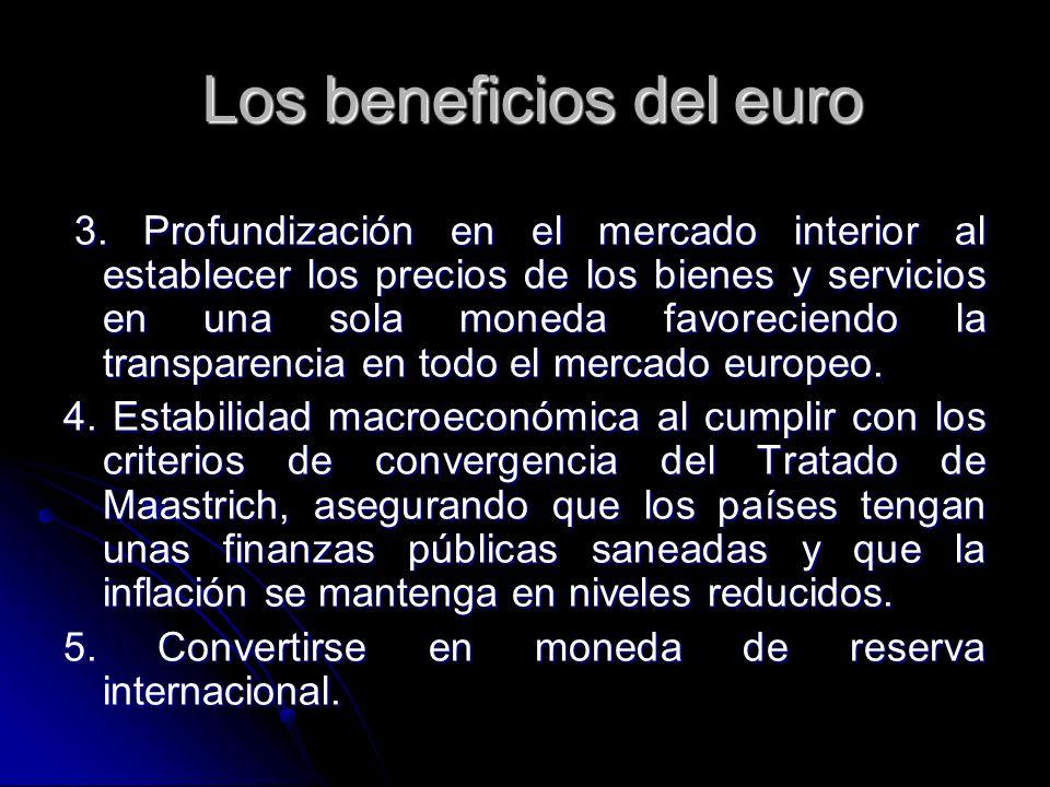 3. Profundización en el mercado interior al establecer los precios de los bienes y servicios en una sola moneda favoreciendo la transparencia en todo