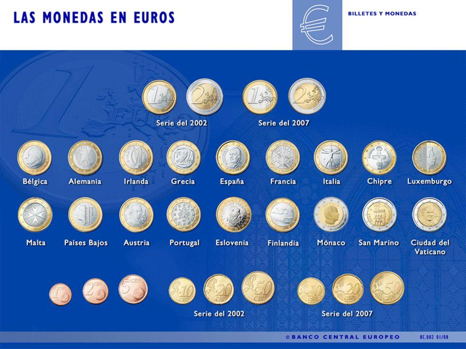 Monedas en euros Existen ocho monedas en euros: 1, 2, 5, 10, 20 y 50 céntimos, 1 y 2.