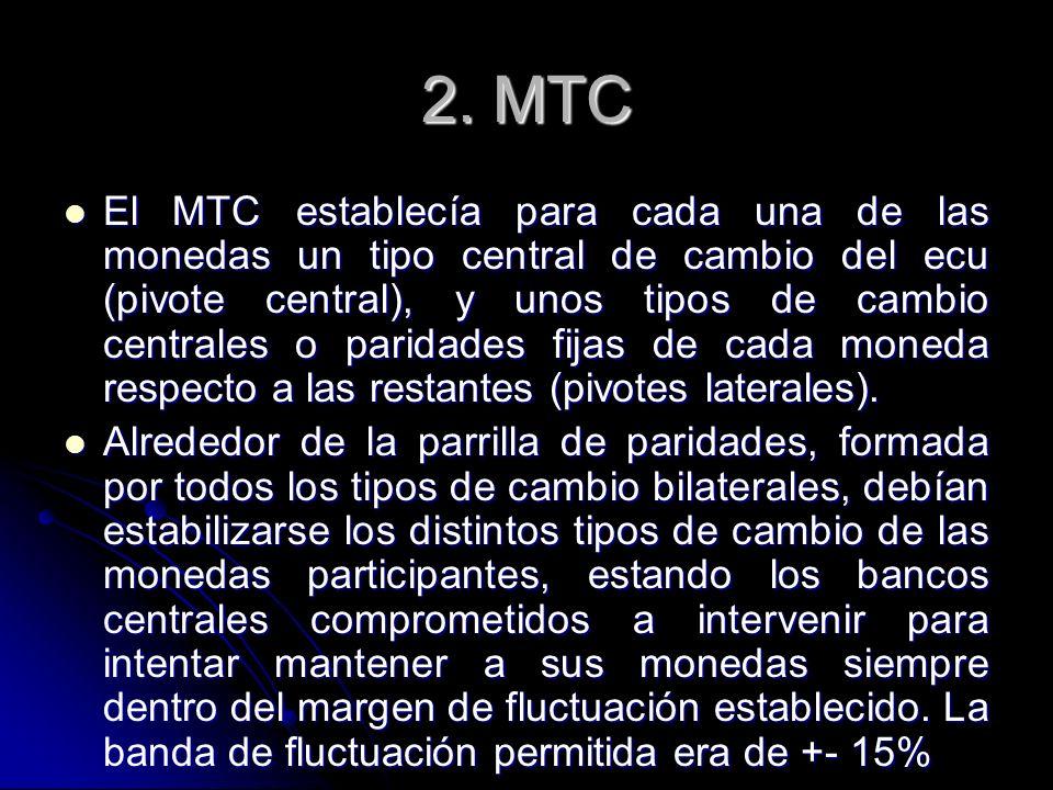 2. MTC El MTC establecía para cada una de las monedas un tipo central de cambio del ecu (pivote central), y unos tipos de cambio centrales o paridades