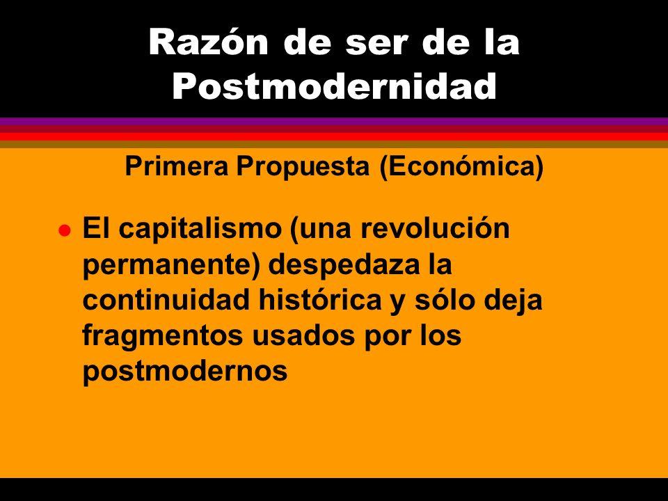 l El capitalismo (una revolución permanente) despedaza la continuidad histórica y sólo deja fragmentos usados por los postmodernos Razón de ser de la
