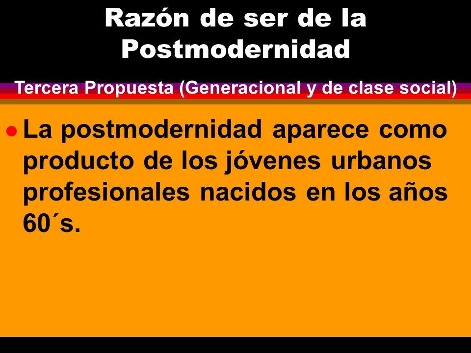 Razón de ser de la Postmodernidad l La postmodernidad aparece como producto de los jóvenes urbanos profesionales nacidos en los años 60´s. Tercera Pro