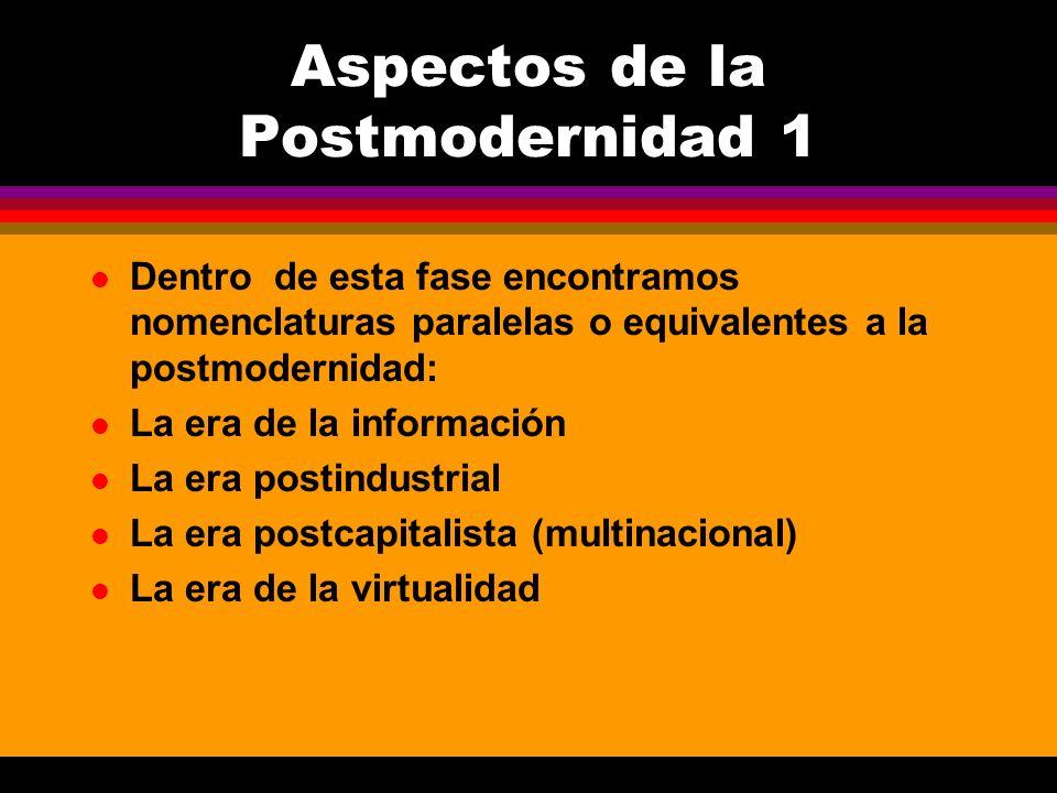 Aspectos de la Postmodernidad 1 l Dentro de esta fase encontramos nomenclaturas paralelas o equivalentes a la postmodernidad: l La era de la informaci