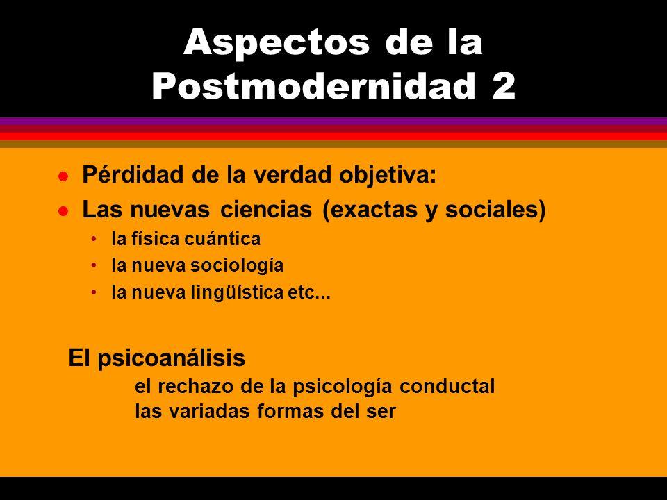 l Pérdidad de la verdad objetiva: l Las nuevas ciencias (exactas y sociales) la física cuántica la nueva sociología la nueva lingüística etc... Aspect