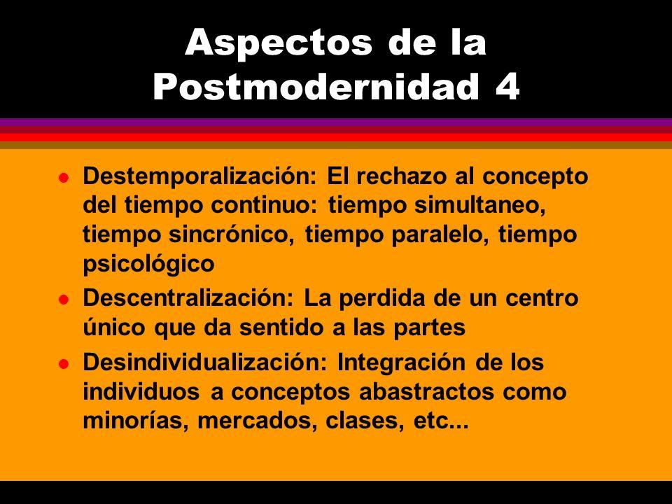 l Destemporalización: El rechazo al concepto del tiempo continuo: tiempo simultaneo, tiempo sincrónico, tiempo paralelo, tiempo psicológico l Descentr