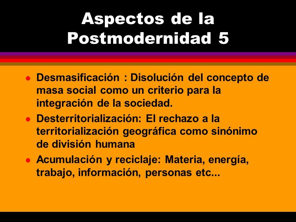 l Desmasificación : Disolución del concepto de masa social como un criterio para la integración de la sociedad. l Desterritorialización: El rechazo a