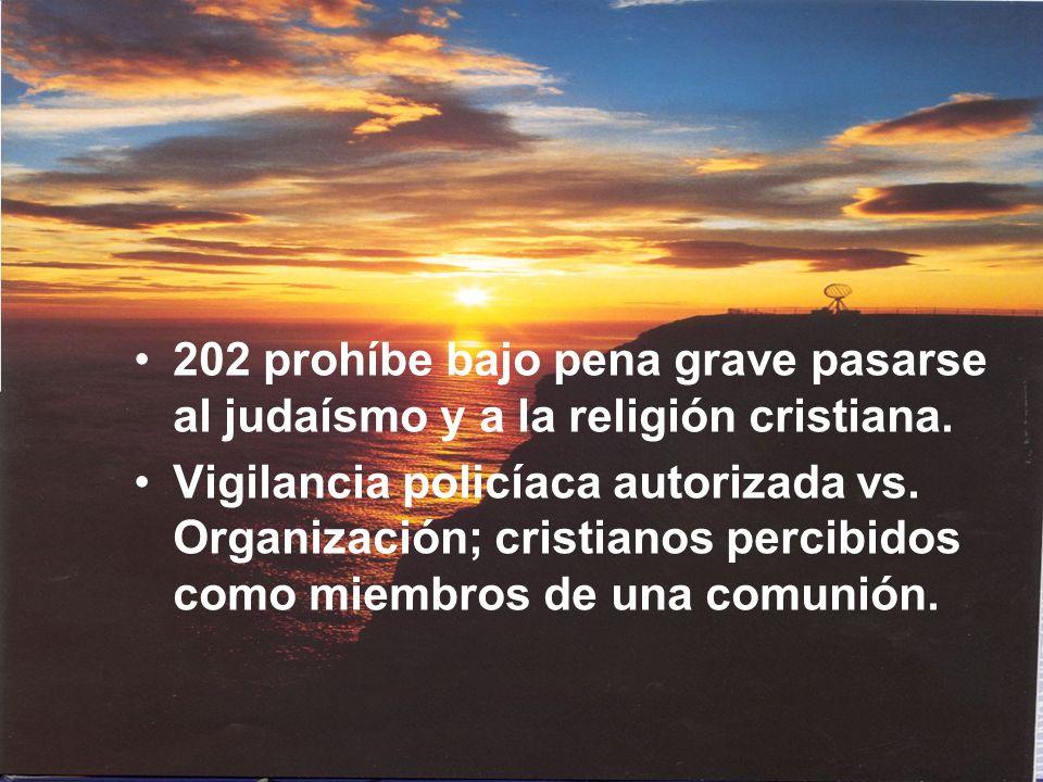 202 prohíbe bajo pena grave pasarse al judaísmo y a la religión cristiana. Vigilancia policíaca autorizada vs. Organización; cristianos percibidos com