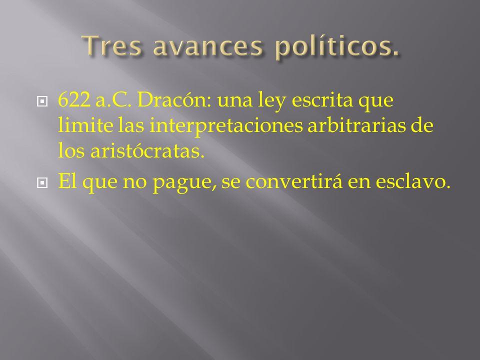 622 a.C. Dracón: una ley escrita que limite las interpretaciones arbitrarias de los aristócratas. El que no pague, se convertirá en esclavo.
