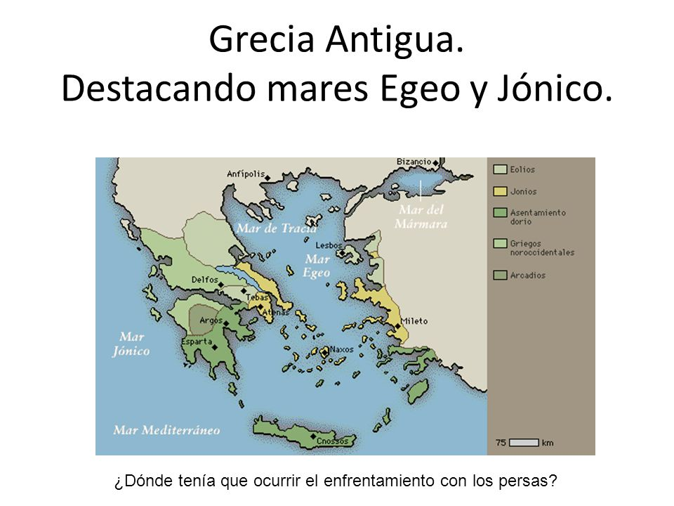 Grecia Antigua. Destacando mares Egeo y Jónico. ¿Dónde tenía que ocurrir el enfrentamiento con los persas?