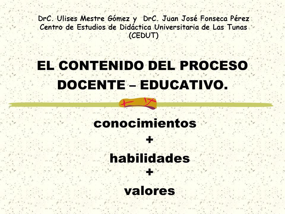 EL CONTENIDO DEL PROCESO DOCENTE – EDUCATIVO. + valores conocimientos + habilidades DrC. Ulises Mestre Gómez y DrC. Juan José Fonseca Pérez Centro de