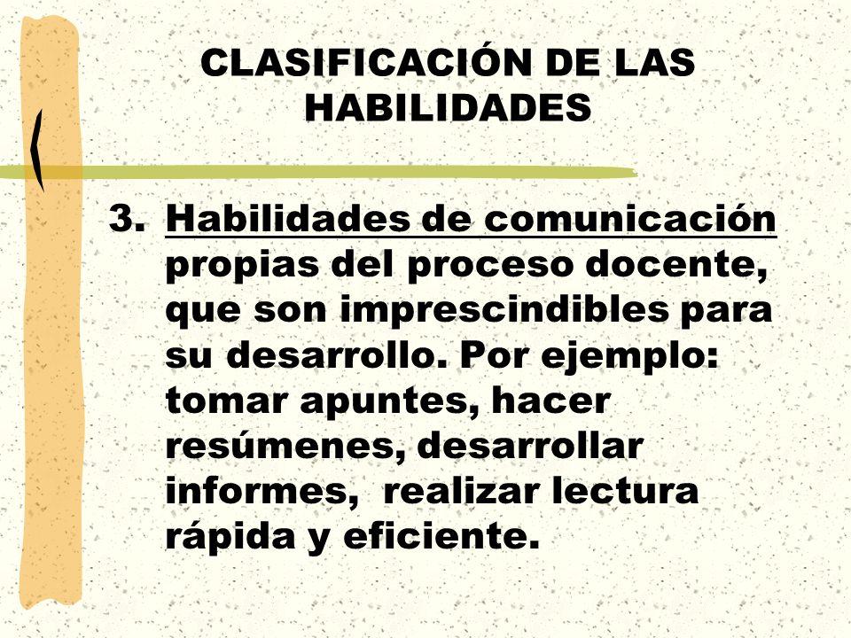 CLASIFICACIÓN DE LAS HABILIDADES 3.Habilidades de comunicación propias del proceso docente, que son imprescindibles para su desarrollo. Por ejemplo: t