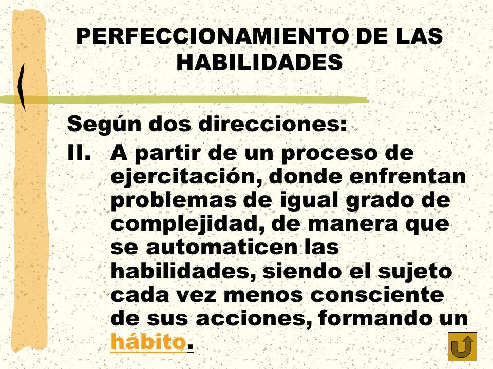 PERFECCIONAMIENTO DE LAS HABILIDADES Según dos direcciones: II.A partir de un proceso de ejercitación, donde enfrentan problemas de igual grado de com