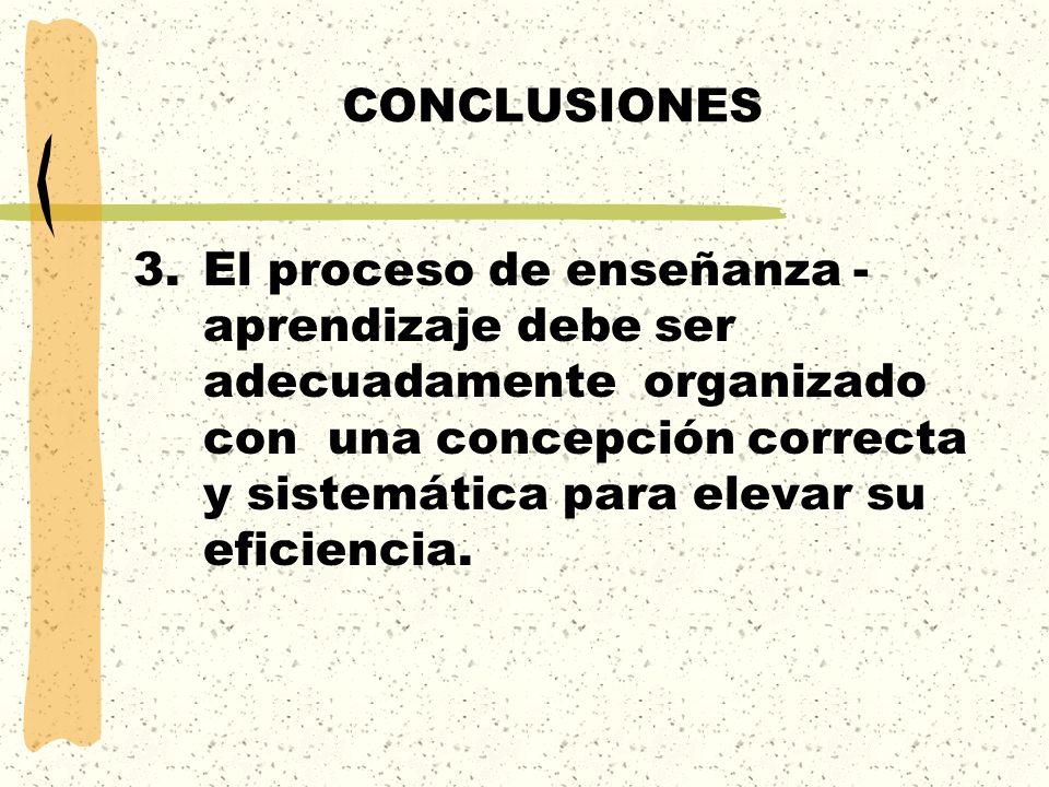 CONCLUSIONES 3.El proceso de enseñanza - aprendizaje debe ser adecuadamente organizado con una concepción correcta y sistemática para elevar su eficie