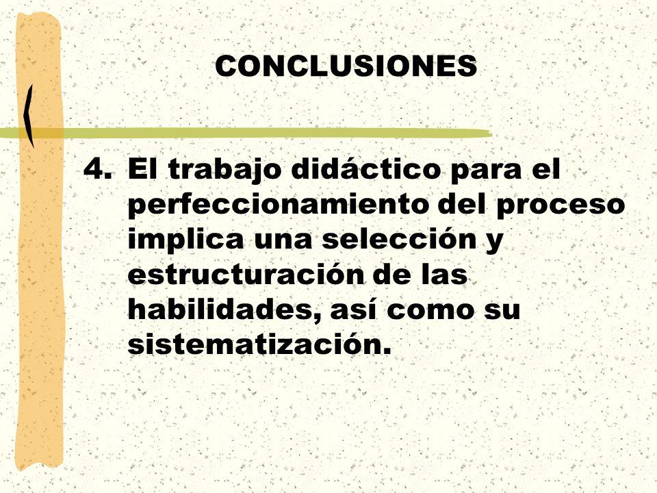 CONCLUSIONES 4.El trabajo didáctico para el perfeccionamiento del proceso implica una selección y estructuración de las habilidades, así como su siste