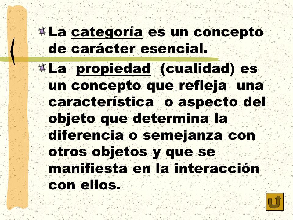 La categoría es un concepto de carácter esencial. La propiedad (cualidad) es un concepto que refleja una característica o aspecto del objeto que deter