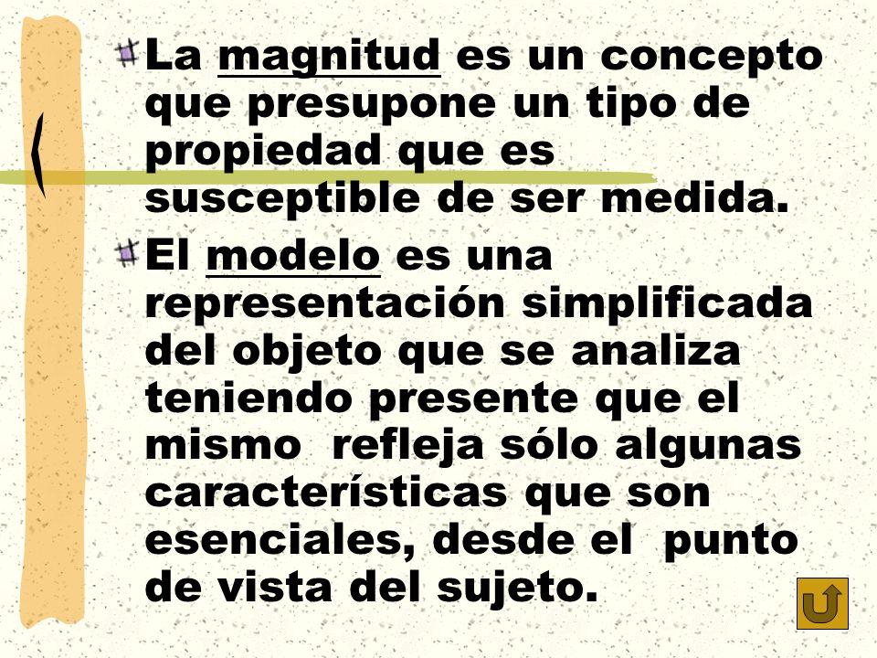 La magnitud es un concepto que presupone un tipo de propiedad que es susceptible de ser medida. El modelo es una representación simplificada del objet