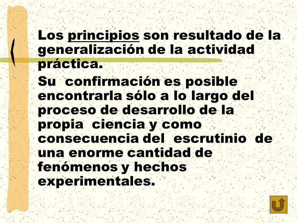 Los principios son resultado de la generalización de la actividad práctica. Su confirmación es posible encontrarla sólo a lo largo del proceso de desa