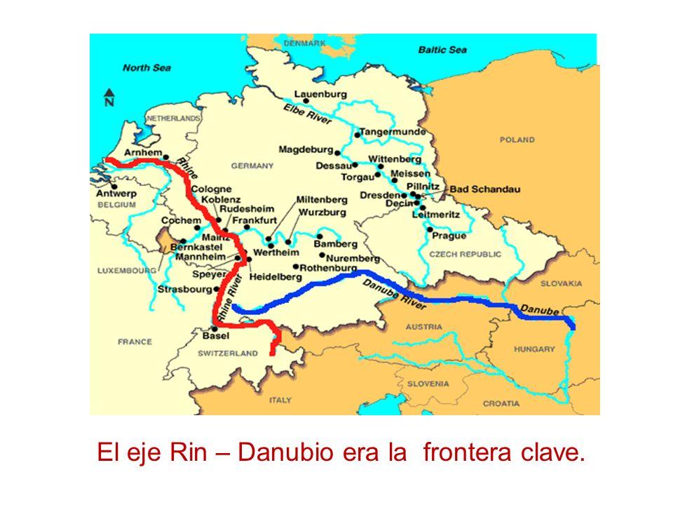 El eje Rin – Danubio era la frontera clave.