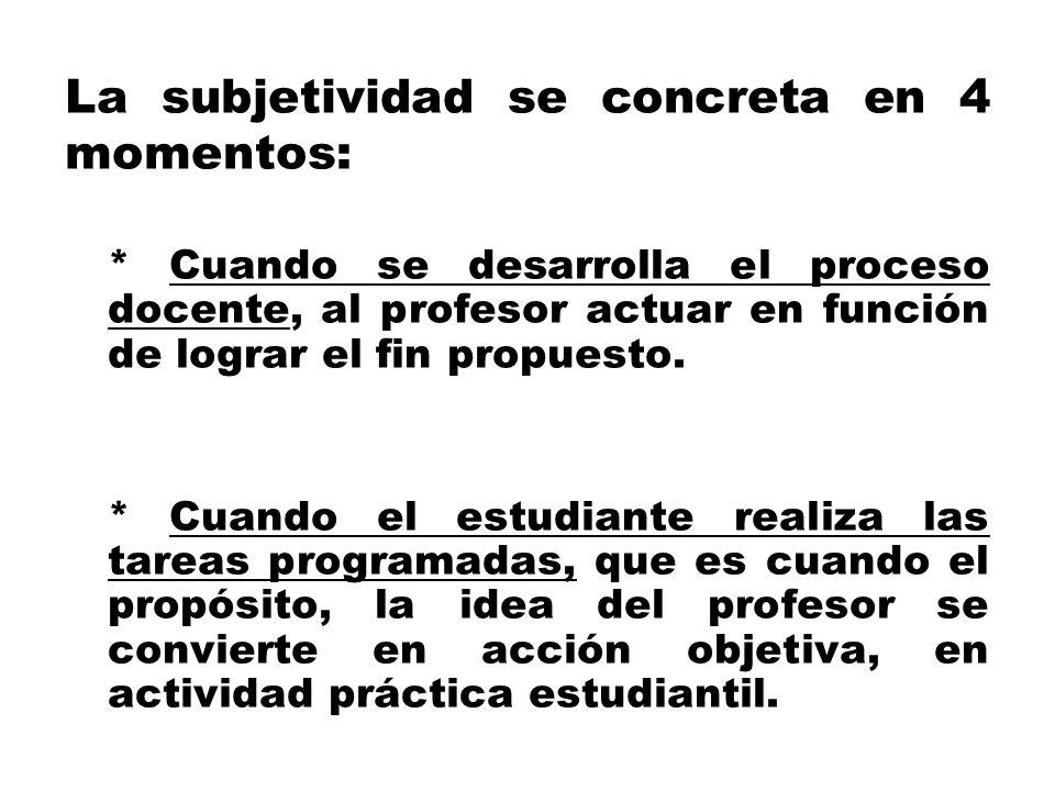 La subjetividad se concreta en 4 momentos: * Cuando se desarrolla el proceso docente, al profesor actuar en función de lograr el fin propuesto. * Cuan