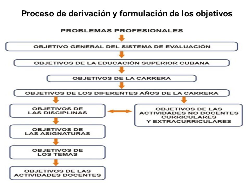Proceso de derivación y formulación de los objetivos