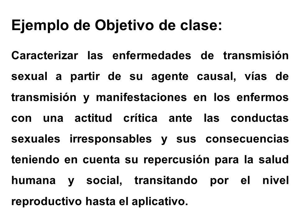 Ejemplo de Objetivo de clase: Caracterizar las enfermedades de transmisión sexual a partir de su agente causal, vías de transmisión y manifestaciones