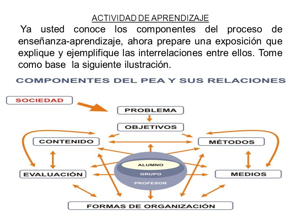 ACTIVIDAD DE APRENDIZAJE Ya usted conoce los componentes del proceso de enseñanza-aprendizaje, ahora prepare una exposición que explique y ejemplifiqu