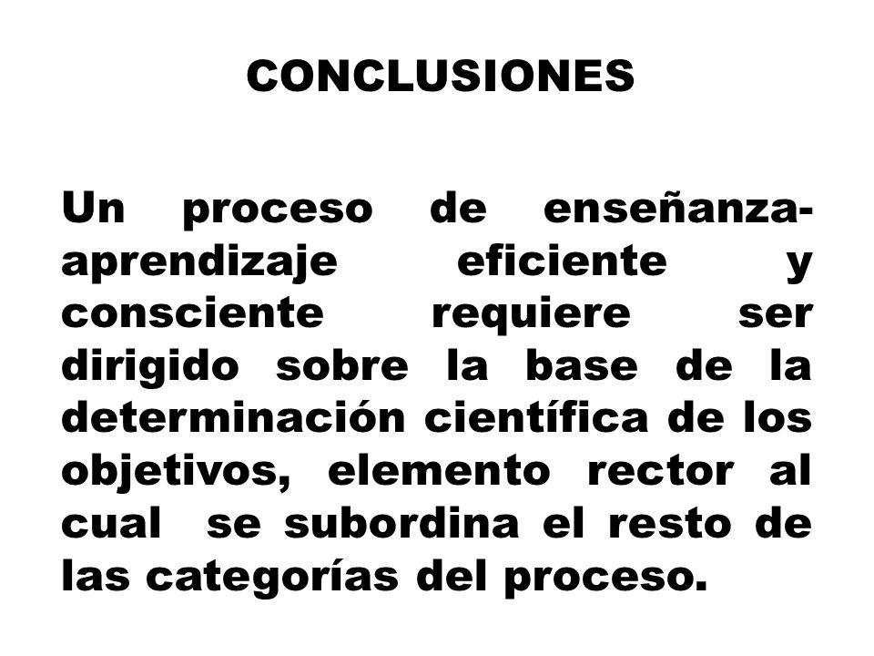 CONCLUSIONES Un proceso de enseñanza- aprendizaje eficiente y consciente requiere ser dirigido sobre la base de la determinación científica de los obj
