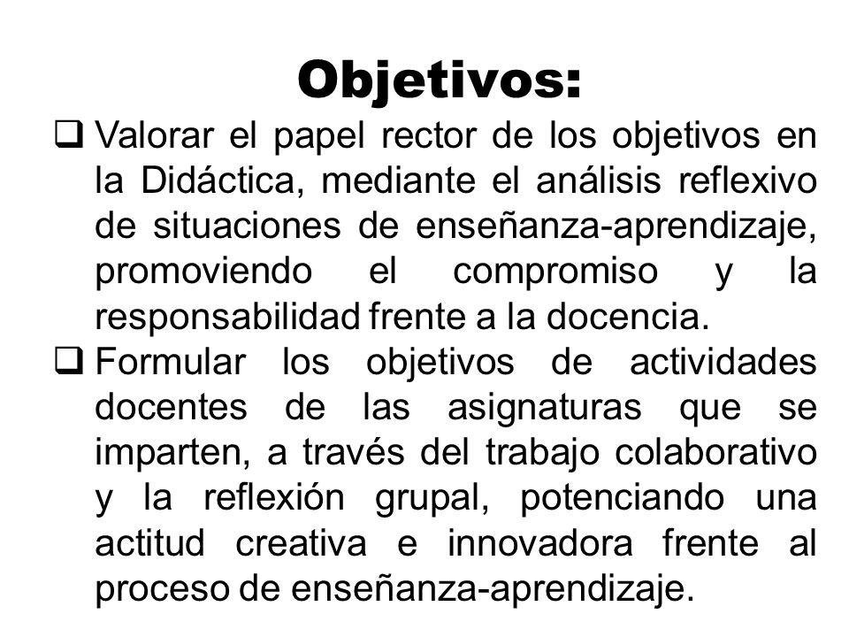 Objetivos: Valorar el papel rector de los objetivos en la Didáctica, mediante el análisis reflexivo de situaciones de enseñanza-aprendizaje, promovien