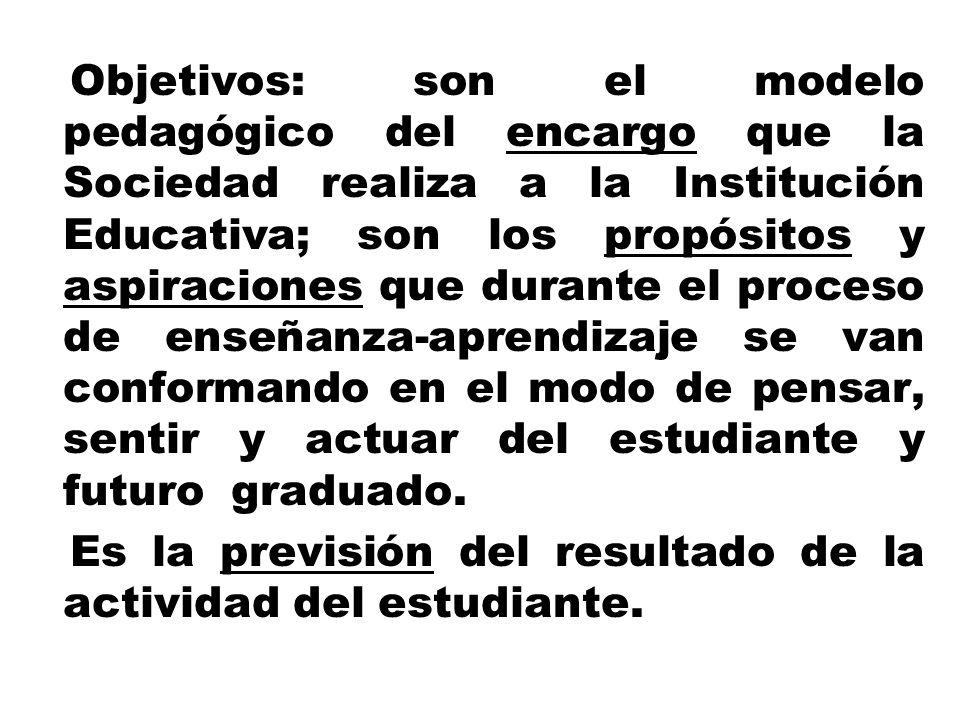 Objetivos: son el modelo pedagógico del encargo que la Sociedad realiza a la Institución Educativa; son los propósitos y aspiraciones que durante el p