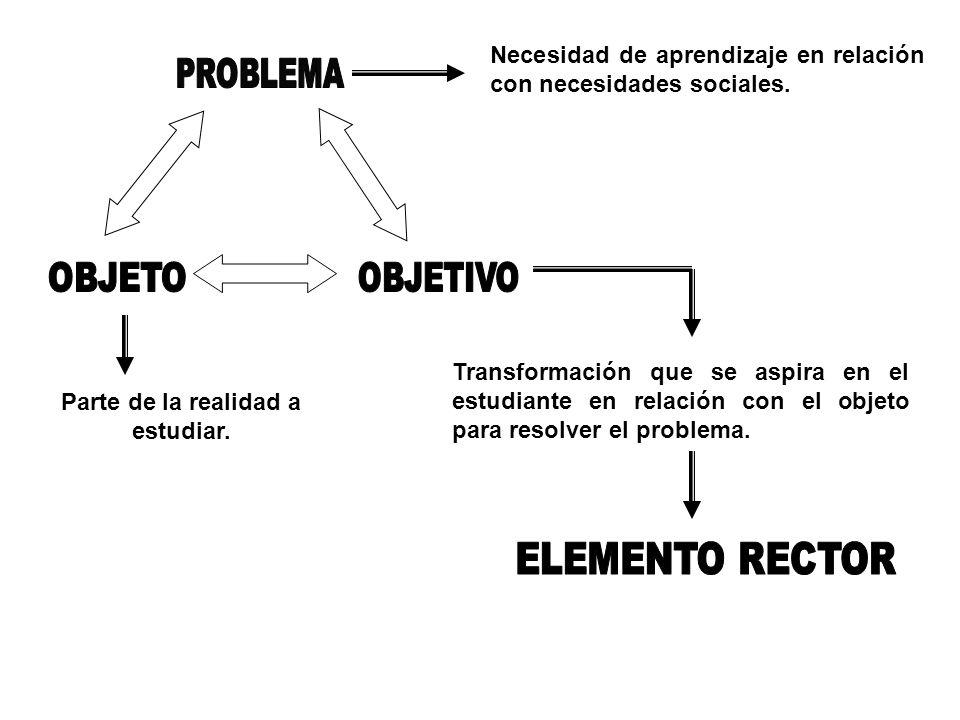 Necesidad de aprendizaje en relación con necesidades sociales. Parte de la realidad a estudiar. Transformación que se aspira en el estudiante en relac