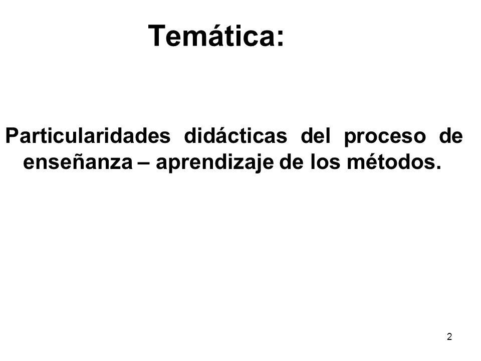 2 Temática: Particularidades didácticas del proceso de enseñanza – aprendizaje de los métodos.