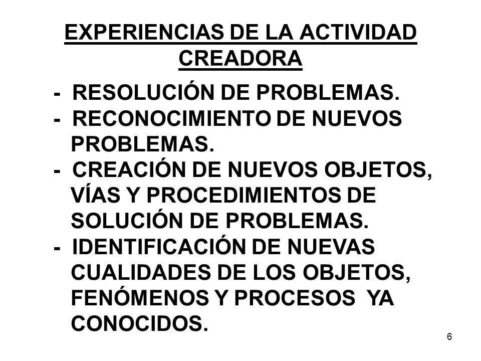 6 EXPERIENCIAS DE LA ACTIVIDAD CREADORA - RESOLUCIÓN DE PROBLEMAS.