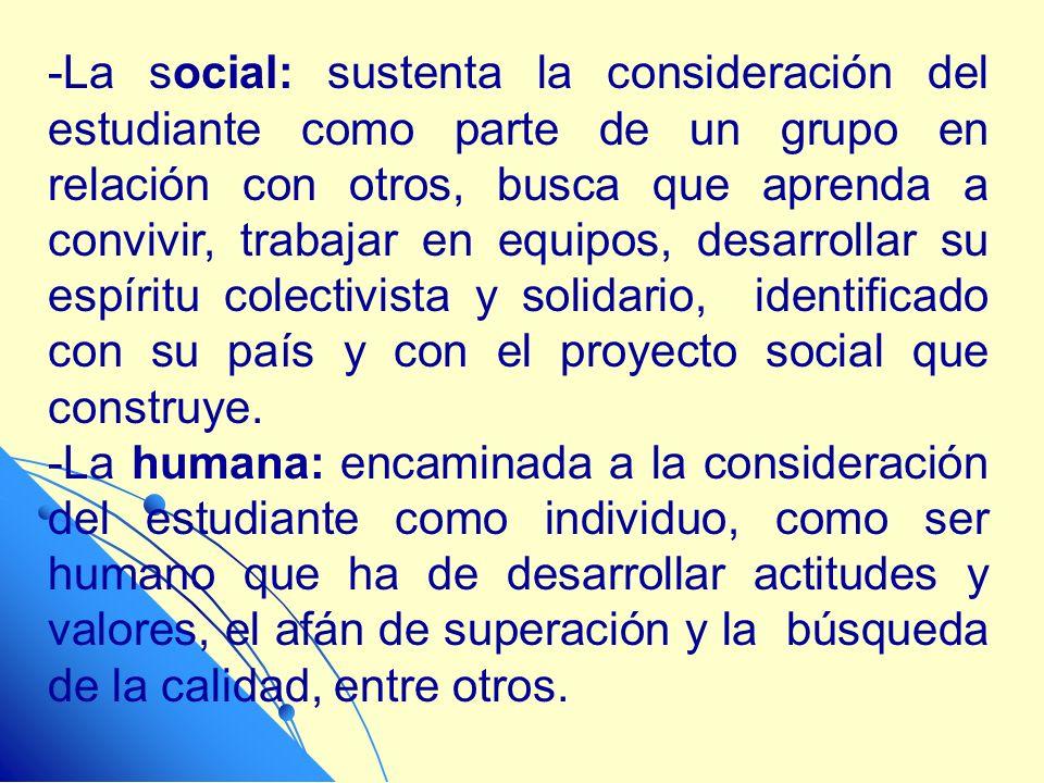 -La social: sustenta la consideración del estudiante como parte de un grupo en relación con otros, busca que aprenda a convivir, trabajar en equipos,