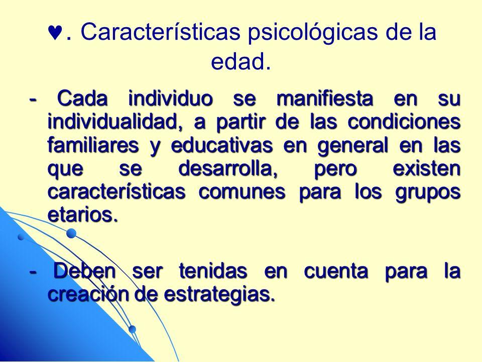 . Características psicológicas de la edad. - Cada individuo se manifiesta en su individualidad, a partir de las condiciones familiares y educativas en