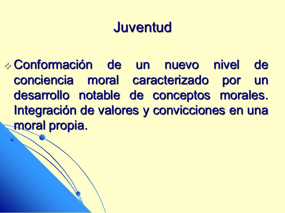 Juventud Conformación de un nuevo nivel de conciencia moral caracterizado por un desarrollo notable de conceptos morales. Integración de valores y con