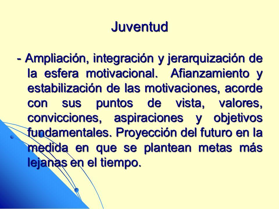 Juventud - Ampliación, integración y jerarquización de la esfera motivacional. Afianzamiento y estabilización de las motivaciones, acorde con sus punt