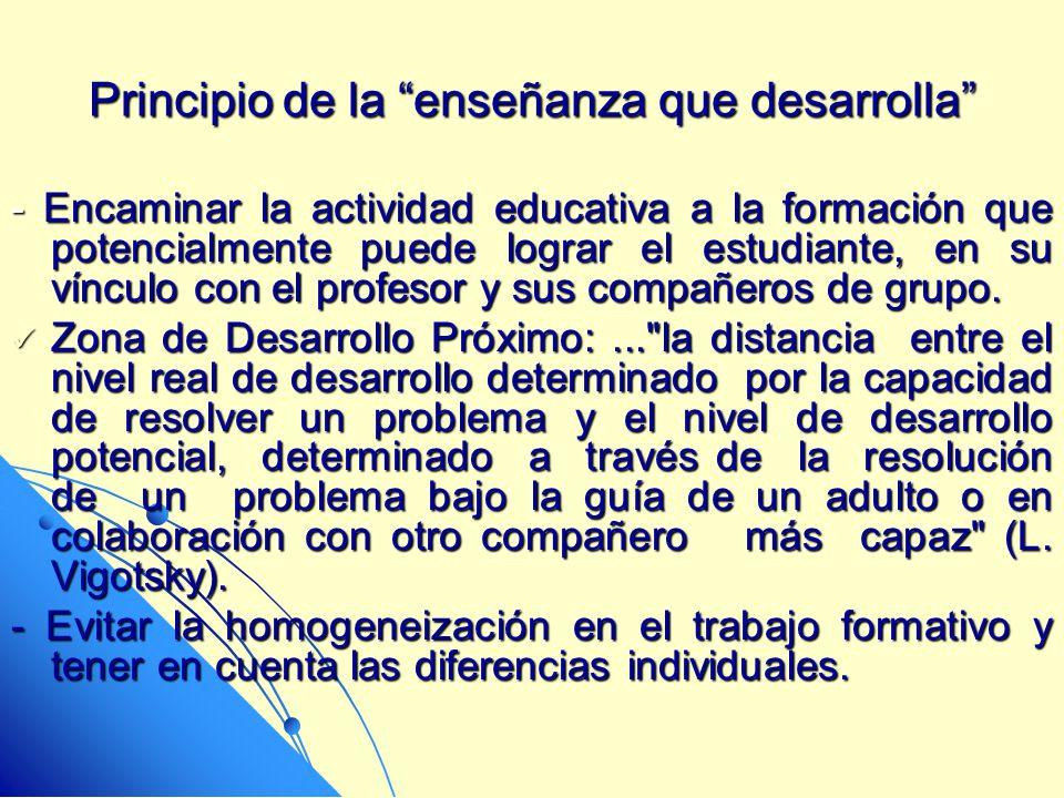 Principio de la enseñanza que desarrolla - Encaminar la actividad educativa a la formación que potencialmente puede lograr el estudiante, en su víncul