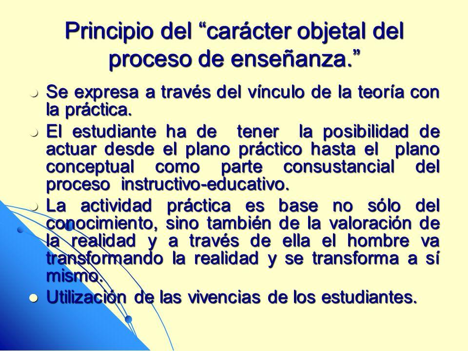 Principio del carácter objetal del proceso de enseñanza. Se expresa a través del vínculo de la teoría con la práctica. Se expresa a través del vínculo