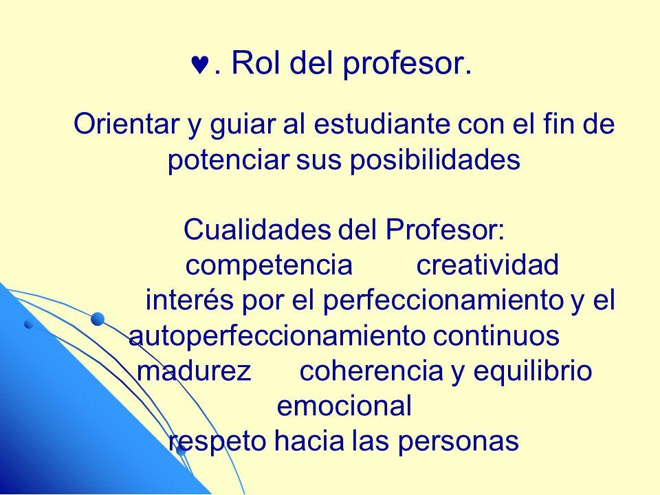 . Rol del profesor. Orientar y guiar al estudiante con el fin de potenciar sus posibilidades Cualidades del Profesor: competencia creatividad interés