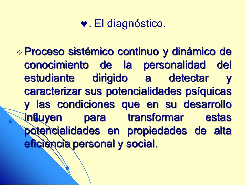 . El diagnóstico. Proceso sistémico continuo y dinámico de conocimiento de la personalidad del estudiante dirigido a detectar y caracterizar sus poten