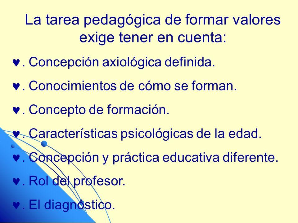 La tarea pedagógica de formar valores exige tener en cuenta:. Concepción axiológica definida.. Conocimientos de cómo se forman.. Concepto de formación