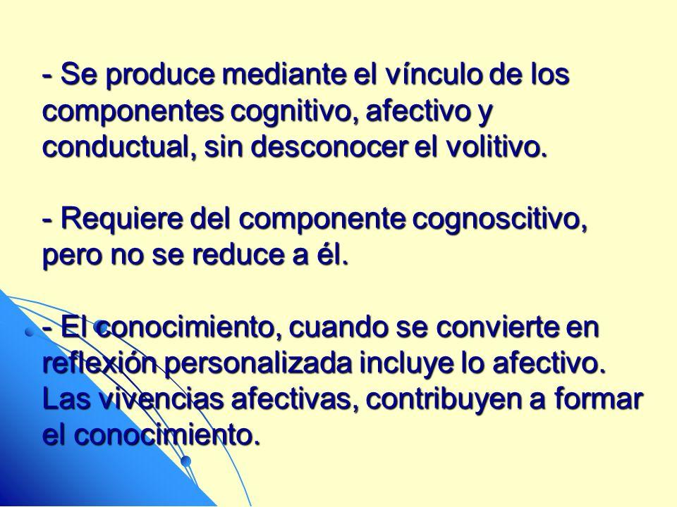 - Se produce mediante el vínculo de los componentes cognitivo, afectivo y conductual, sin desconocer el volitivo. - Requiere del componente cognosciti