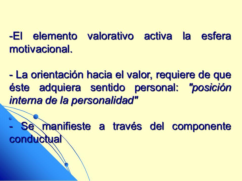 -El elemento valorativo activa la esfera motivacional. - La orientación hacia el valor, requiere de que éste adquiera sentido personal: