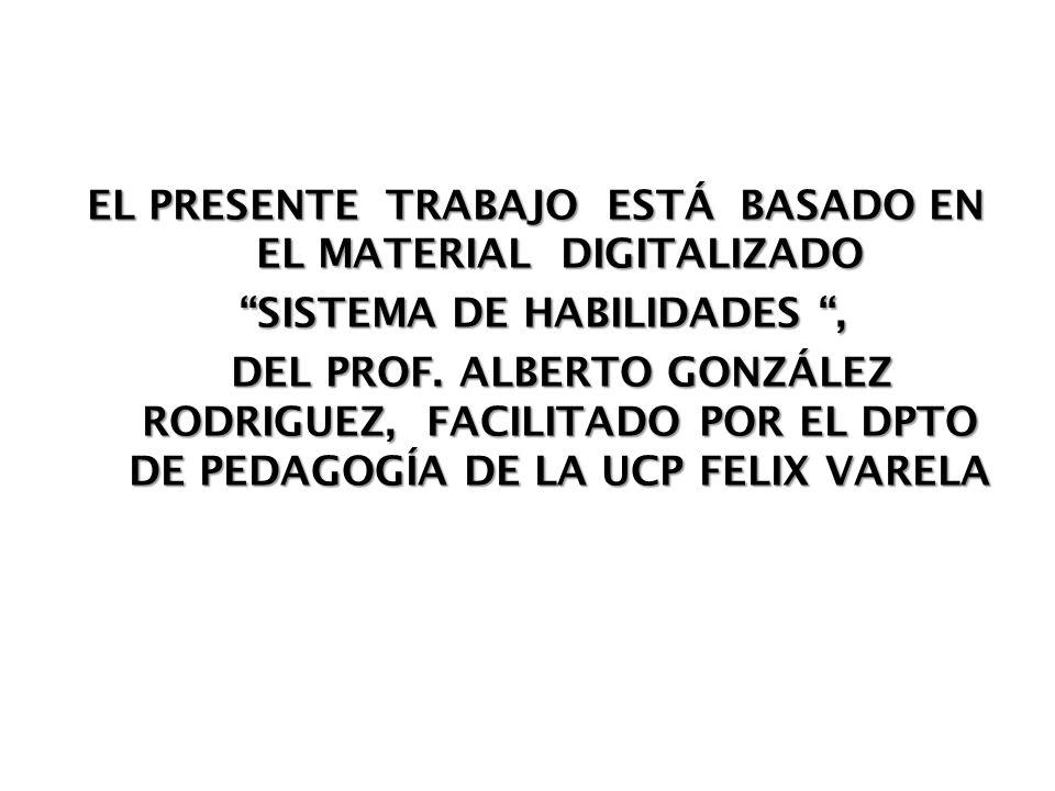 EL PRESENTE TRABAJO ESTÁ BASADO EN EL MATERIAL DIGITALIZADO SISTEMA DE HABILIDADES, SISTEMA DE HABILIDADES, DEL PROF. ALBERTO GONZÁLEZ RODRIGUEZ, FACI
