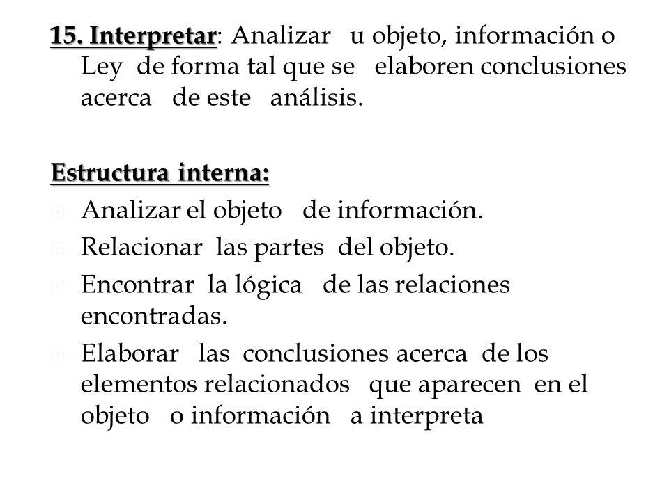 15. Interpretar 15. Interpretar : Analizar u objeto, información o Ley de forma tal que se elaboren conclusiones acerca de este análisis. Estructura i
