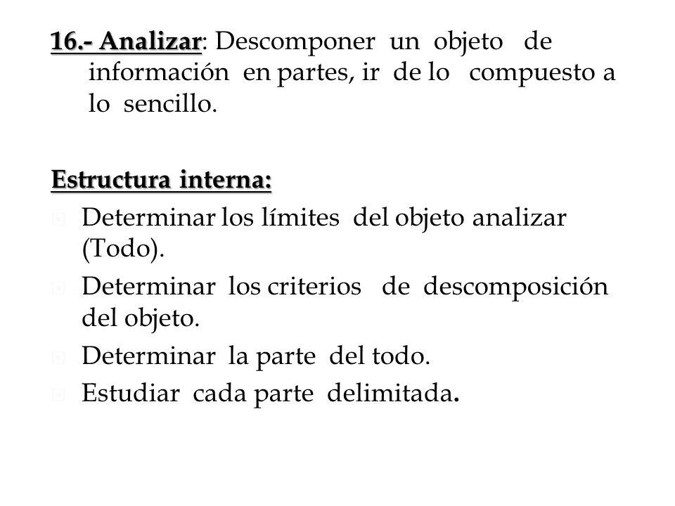 16.- Analizar 16.- Analizar : Descomponer un objeto de información en partes, ir de lo compuesto a lo sencillo. Estructura interna: Determinar los lím