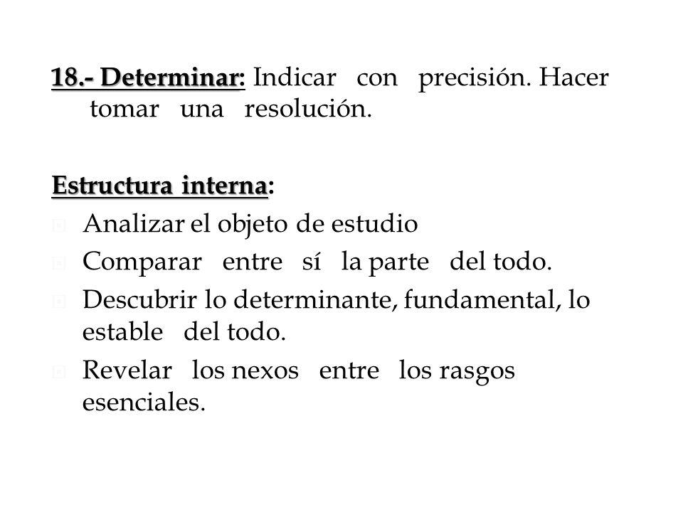 18.- Determinar 18.- Determinar: Indicar con precisión. Hacer tomar una resolución. Estructura interna Estructura interna: Analizar el objeto de estud