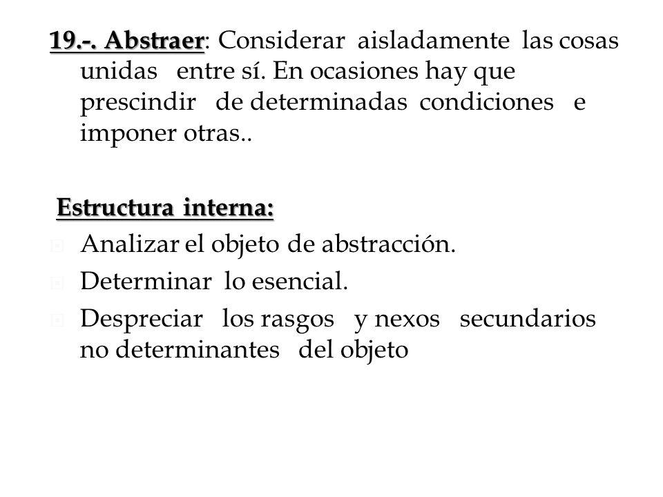 19.-. Abstraer 19.-. Abstraer : Considerar aisladamente las cosas unidas entre sí. En ocasiones hay que prescindir de determinadas condiciones e impon