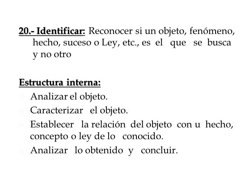 20.- Identificar 20.- Identificar: Reconocer si un objeto, fenómeno, hecho, suceso o Ley, etc., es el que se busca y no otro Estructura interna: Anali